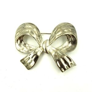 Erwin Pearl Bow Pin Brooch Silver Plated Embossed